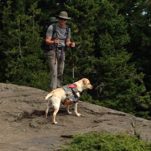 dog and man hiking